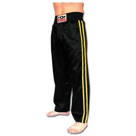 Pantalón Full Contact y Kick Boxing ALGODÓN NEGRO/AMARILLO