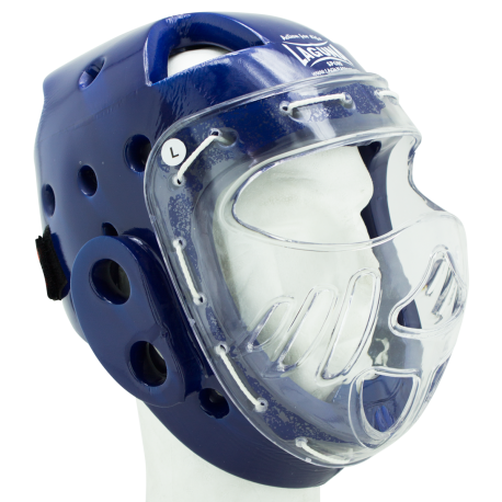 CASCO INTEGRAL CON MASCARA AZUL