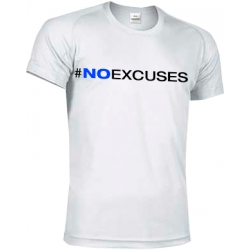 CAMISETA TECNICA NO EXCUSES- BLANCO