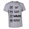 CAMISETA ALGODON EAT-SLEEP-KARATE-REPEAT GRIS