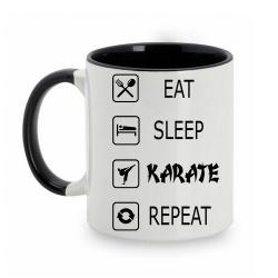 TAZA BLANCO/NEGRO EAT-SLEEP-KARATE-REPEAT