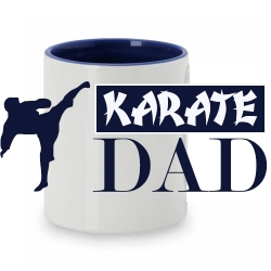 TAZA BLANCO/AZUL KARATE DAD