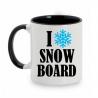 TAZA BLANCO/NEGRO I LOVE SNOWBOARD