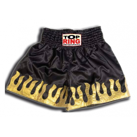 THAI SHORTS BLACK WITH GOLDEN FLAMES