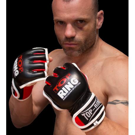 Guantilla MMA y JIU JITSU piel negro/rojo