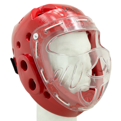 CASCO INTEGRAL PIEL CON MASCARA TOP RING ROJO