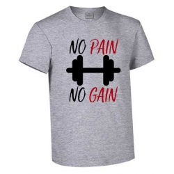 CAMISETA NO PAIN NO GAIN COLOR GRIS