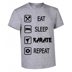 CAMISETA ALGODON EAT-SLEEP-KARATE-REPEAT GRIS