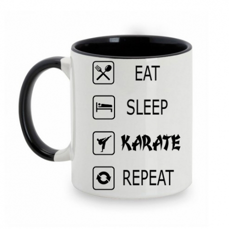 TAZA BLANCO/NEGRO EAT-SLEEP-KARATE-REPEAT