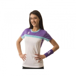 CAMISETA PADEL SOFTEE CLUB MUJER COLOR BLANCO/VIOL